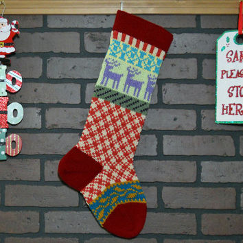 Personalized Christmas Stocking Hand Knit in Claret Red with Lavender Reindeer, colorful stocking, Fair Isle, Housewarming/ Wedding Gift