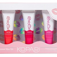 Kopari Coconut Kiss Kit - Our Limited Edition Coconut Lip Balm Kit Contains 3 Sheer-Colored Glosses With 100% Organic Coconut Oil, Non GMO, Vegan, Cruelty Free, Paraben Free and Sulfate Free