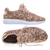 Remy18 by Forever Link, Lace up Rock Glitter Fashion Sneaker w Elastic Tongue & White Outsole - Walmart.com
