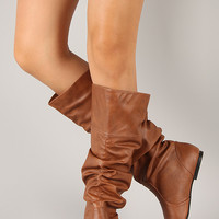 Neo-144 Slouchy Round Toe Knee High Flat Boot