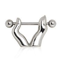 316L Surgical Steel Nipple Ring with Fingers