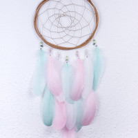 Pink & Mint Small Dream Catcher - Boho Girls Boys DreamCatcher Wall Hanging Baby Tribal Crib Baby Feathers New Baby nursery