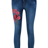 Hannah Mid Rise Floral Embroidery Skinny Jeans | Boohoo
