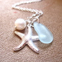 Seafoam Seaglass Necklace with Starfish & fresh water pearl - Perfect bridesmaids gift in Beach Wedding - FREE SHIPPING