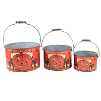 Halloween Happy Halloween Bucket Set St/3 Pumpkin  Cat Vintage Look - 101884