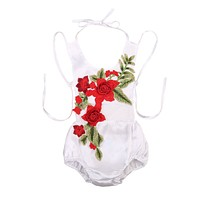 Summer born Baby Girls 3D Rose Flower Backless Romper Lace Halter Jumpsuit Sun-suit Outfits