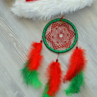 Wall Hanging Dream Catcher, Christmas Dreamcatcher / Dream Catcher with Carnelian Gemstone, nursery decor - Gift Dream Catcher