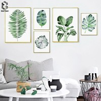 Nordic Decoration Fresh Palm Wall Art Poster and Print Tropical Canvas Painting Succulent Picture for Living Room Home Decor