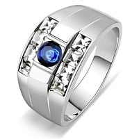 Mens Rings TK3463 Stainless Steel Ring with Synthetic in Montana