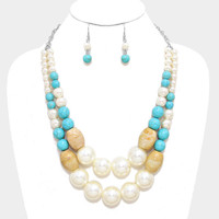 Meaghan Pearl & Turquoise Stone Beaded Necklace