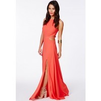 Missguided - Anthea Cut Out Split Maxi Dress In Coral