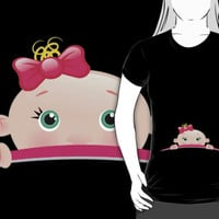Cute 'Peek a Boo Baby Girl' Mommy-to-Be T-Shirt