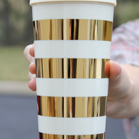 Kate Spade Thermal Mug - Gold Stripes