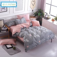 BEST.WENSD Wholesa Simple plaid-Sky blue pink hello kity 3/4pc bedding set king comforter set duvet cover bed linen bedspread