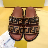 Brown FENDI Leather Slides Slippers