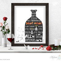Drink You Away by JUSTIN TIMBERLAKE Valentine printable lyric printable love song printable Valentine prints love art prints printable lyric