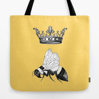 Queen Bee Tote Bag, bright yellow,  cute design, beach bag, travel, gym tote, book bag, teacher tote, save the bees