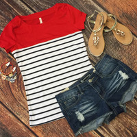 Color Blocked Striped Top: Red