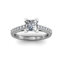 Princess Diamond Solitaire Engagement Ring 14K Conflict Free Diamond Engagement Ring Custom Bridal