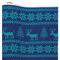 Natt Knitting Turquoise Deer Fabric By The Yard