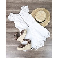 Final Sale - Open Back Crochet Eyelet Romper in White