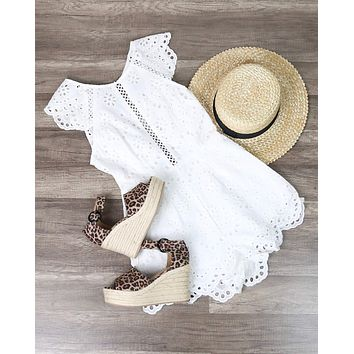 Open Back Crochet Eyelet Romper in White