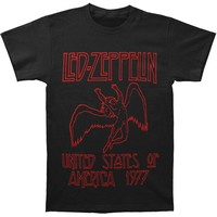 Led Zeppelin Men's  USA 1977 Red Lettering Mens Soft T Slim Fit T-shirt Black
