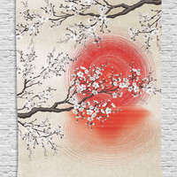 Cherry Blossom Sakura Branches Japanese Sun and Reflection Shadow Design Patterns Cream Pearl Wall Decor Living Room Bedroom Tapestry Wall Hanging, Beige Brown Red White