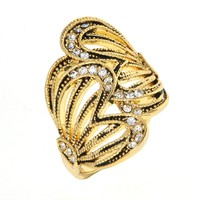 Dear Deer Yellow Gold Plated Cubic Zirconia Double Butterfly Filigree Cocktail Ring