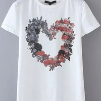 White Short Sleeve Floral Heart Print Graphic T-Shirt