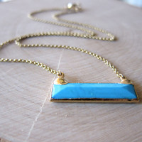 Turquoise Bar Necklace,Pendant Necklace,Back to School,Rectangle Pendant,Gold,Simple Necklace,Turquoise,Gold,Geometric,Boho,Blue,Gold,Autumn