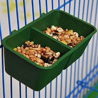 Plastic PetDouble Groove Bird Feeders Parrot Food Bowl Cup Cans Install Cage Feeding Basin Tank Sand Cup Parrot Supplies
