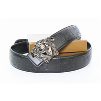 Mens Silver Buckle Free Black Leather Versace Belt Brand New