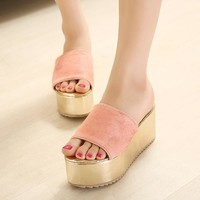 Summer Thick Crust Leopard Stylish Leather Anti-skid Beach Slippers [6048872833]