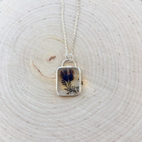 Dendritic Agate Cabochon Pendant in Handmade Sterling Silver Bezel with Rolo Chain, Square Agate Pendant, Gemstone Bezel, Silver Necklace