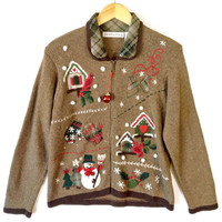 Cardinals and Birdhouses, Ice Skates and Snowmen Ugly Christmas Sweater