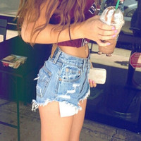 Sexy Women Girl Summer High Waist Ripped Hole Wash Denim Jeans Shorts Pants = 4721392452