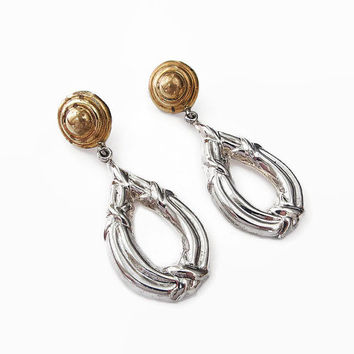 Mexican Sterling Earrings, Taxco Mexico, Laton, Sterling Silver, Gold Plated, Nautical, Dangle Drop, Vintage Earrings, Vintage Jewelry