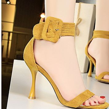Hot style open-toe sandals with high-heeled suede strap shoes