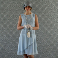 Stylish flapper dress in baby blue, ruffled skirt detail, Roaring 20s dress, Gatsby dress, Downton Abbey dress, prohibition party dress