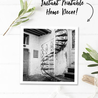 Black and white art, black white photography, printable wall art photography, Greece digital download photography, square print, staircase