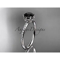 platinum diamond  engagement ring with a Black Diamond ADLR92P