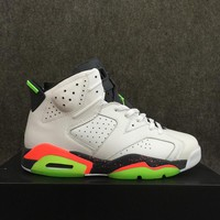 Air Jordan 6 Retro AJ6 White/Green Leather Basketball shoes