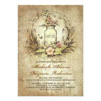 Vintage floral mason jar rustic wedding invitation