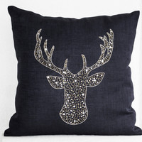Deer Pillows -Stag embroidered gold silver sequin - Linen pillow covers -Charcoal Grey pillows -Grey pillows- Christmas pillows 16x16- Gift