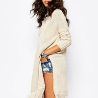 Long Sleeve Knitted Fringed Long Coat with Slit