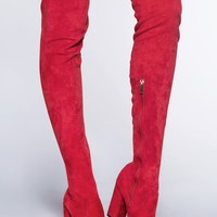 A Little Crush Thigh High Boots - Red Suede