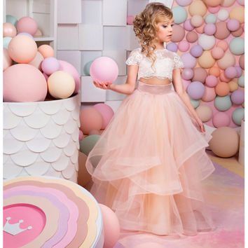 Top Quality 2 Piece Lace Sleeve Holy Communion Dresses Pageant Ball Gowns for Girls Dresses Primera Comunion Flower Girl Dresses