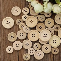 New Hot sale 50 Pcs Mixed Wooden Buttons Natural Color Round 4-Holes Sewing Scrapbooking DIY 3YN