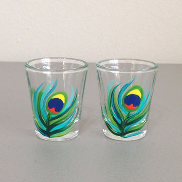 Hand Painted Shot Glasses Set of 2 Peacock Feathers